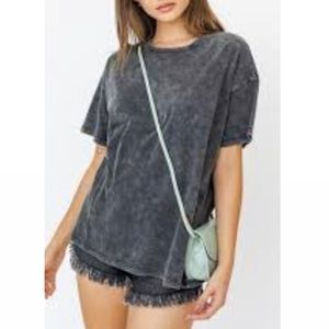 Peach Love Acid Washed Oversized Short sleeve top
